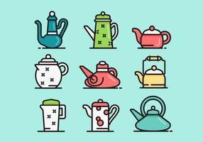 Mignon Sets Teapot Icône Vecteur