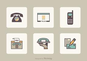 Flat Retro communication icônes vectorielles vecteur