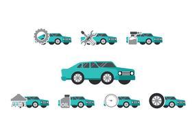 Teal Car Auto Body icône Vecteurs vecteur