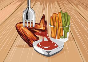 Buffalo Wings & Sauce Vector