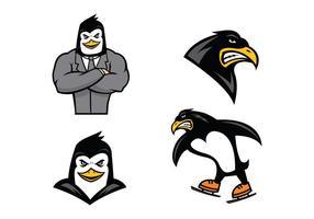 Vecteur gratuit de mascotte de pingouins