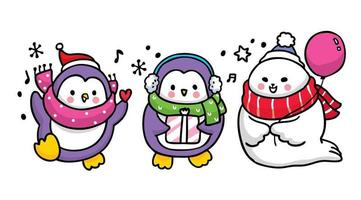 animaux d'hiver de dessin animé mignon célébrant