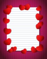 papier cahier avec coeurs