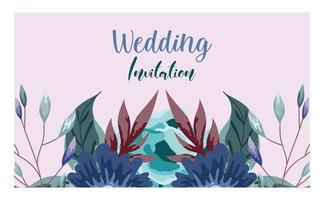 carte de voeux de mariage ornement floral et herbes