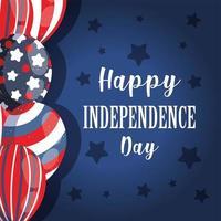 ballons de fête de l'indépendance avec des étoiles