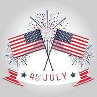 fête de l'indépendance des États-Unis, drapeaux, feux d'artifice et ruban