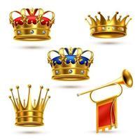 ensemble couronne royale et corne vecteur