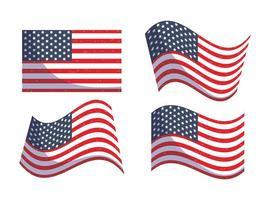 conception de drapeaux usa isolés