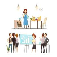 dessin animé, femme, travail