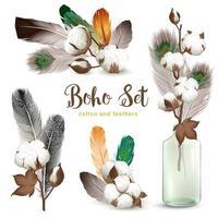 ensemble de plumes de coton réalistes style boho
