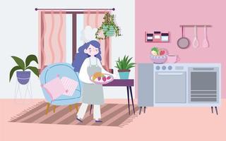 femme chef avec de la nourriture dans un plateau