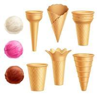cornets de crème glacée boules réalistes vecteur