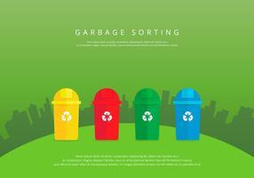 Enfouissement des ordures ménagères de tri coloré vecteur