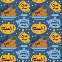 citrouille de Thanksgiving, gant de four, dinde, modèle de bouilloire
