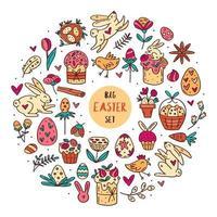 ensemble d'éléments de pâques doodle dessinés à la main
