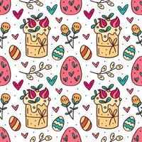 Éléments de Pâques drôles mignons dessinés à la main modèle sans couture