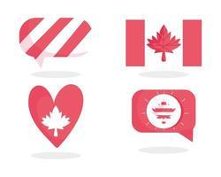 drapeau canadien, feuille d'érable, bulle et coeur