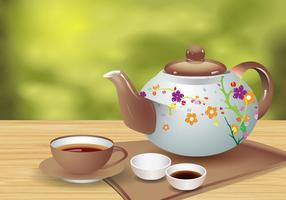 Teapot Tea Réaliste Et Cup Vector