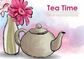 Vector Pastel Teapot With Flower