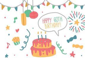 anniversaire Doodle vecteur