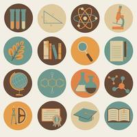 jeu d'icônes de couleur rétro plat éducation