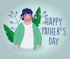 dessin animé de papa avec décoration de fleurs