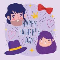 carte avec papa, fille, chapeau et noeud papillon