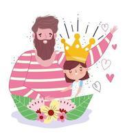 papa avec fille, couronne et décoration de fleurs