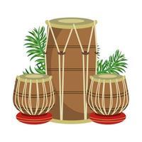 tambours de tabla indien avec des feuilles