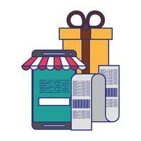 symboles de technologie d'achat et de paiement en ligne vecteur