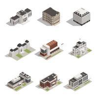 jeu d'icônes de bâtiments gouvernementaux isométriques
