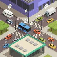technologie de ville intelligente isométrique