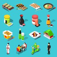 ensemble de cuisine asiatique isométrique