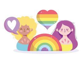 dessins animés de filles avec arc-en-ciel lgbti