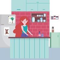 fille avec bouteille et râpe sur le comptoir