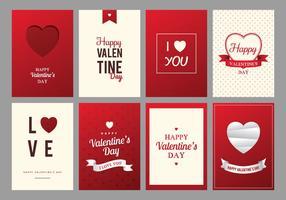 Carte du jour de rouge et crème Happy Valentine vecteur