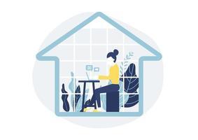 femme assise au bureau dans la maison avec ordinateur portable