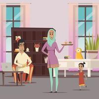 famille du Moyen-Orient à la maison