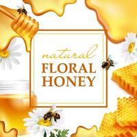 bannière de miel naturel réaliste vecteur