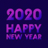 bonne année 2020 design de ligne rétro vecteur