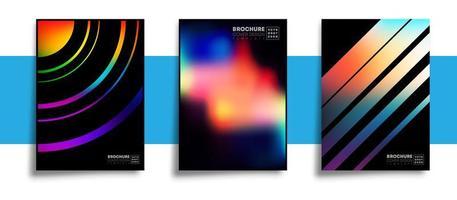 ensemble d'affiches de conception abstraite avec des textures dégradées colorées