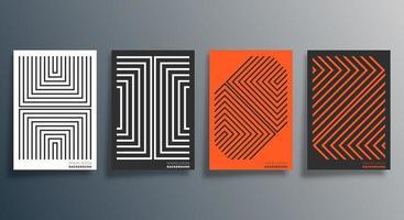 dépliant de conception linéaire orange, noir, blanc, affiche, brochure vecteur