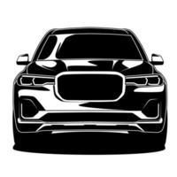 dessin avant de voiture noir et blanc vecteur