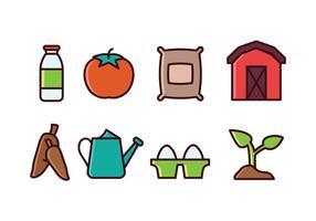 Ensemble d'icônes agricoles vecteur