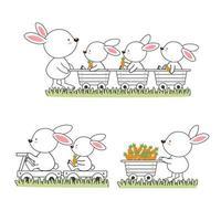 dessin animé de famille de lapin heureux