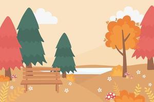 banc de parc, champignons, fleurs, lac et arbres vecteur