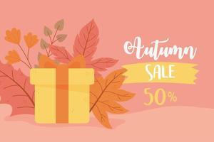 affiche de réduction de feuilles d'érable et de cadeaux