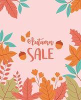 affiche de vente shopping. fond d'arbre et de feuilles