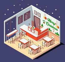 intérieur isométrique de restaurants ou de cafés au moment de Noël vecteur