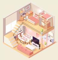 maison isométrique composition de différentes pièces
